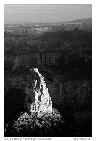 Mount Hayden from Point Imperial, late afternoon. Grand Canyon National Park (black and white)