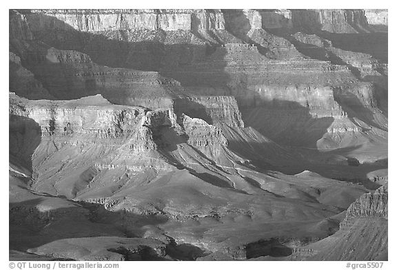 Distant cliffs seen from Cape Royal, morning. Grand Canyon National Park (black and white)
