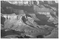Distant cliffs seen from Cape Royal, morning. Grand Canyon National Park, Arizona, USA. (black and white)
