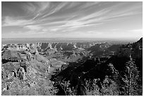 View from Vista Encantada, morning. Grand Canyon National Park, Arizona, USA. (black and white)