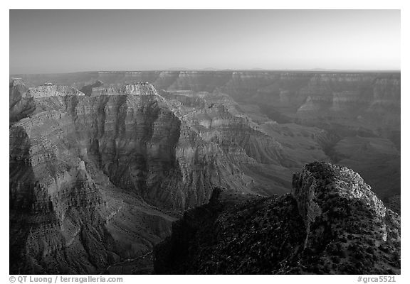 View from Point Sublime, dusk. Grand Canyon National Park (black and white)