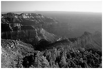 View from Point Imperial, sunrise. Grand Canyon National Park, Arizona, USA. (black and white)