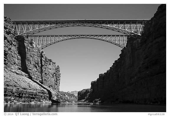 Navajo Bridge. Grand Canyon National Park (black and white)