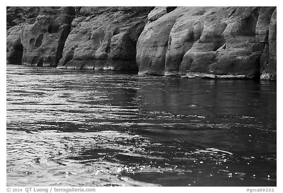Sandstone and Colorodo River. Grand Canyon National Park (black and white)