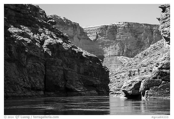 Marble Canyon of the Colorado River. Grand Canyon National Park (black and white)