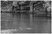 Redwall limestone reflected in green waters, Colorado River. Grand Canyon National Park ( black and white)