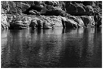 Cliff and reflection, Colorado River. Grand Canyon National Park ( black and white)