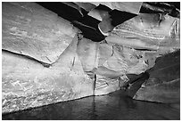 Angular sandstone walls at Colorado River edge. Grand Canyon National Park ( black and white)