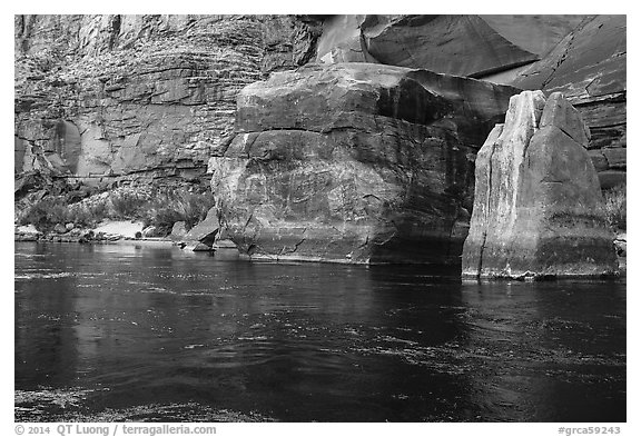 Red rocks and reflections in Colorado River. Grand Canyon National Park (black and white)