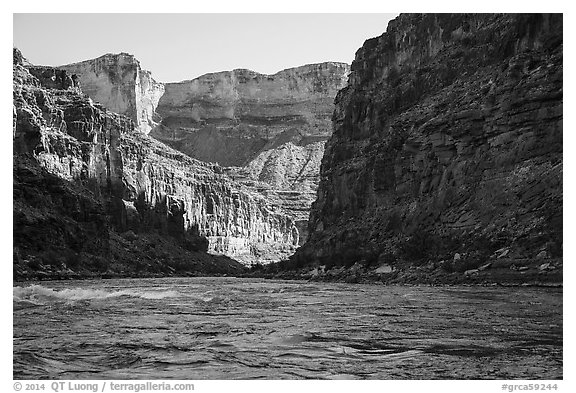 River-level view of Marble Canyon and Colorado River rapids. Grand Canyon National Park (black and white)