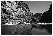 River-level view of glassy waters before rapids, Marble Canyon. Grand Canyon National Park ( black and white)