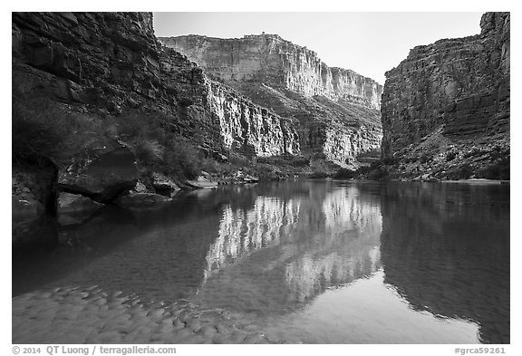 Colorado River in Marble Canyon, early morning. Grand Canyon National Park (black and white)