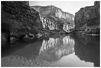 Colorado River in Marble Canyon, early morning. Grand Canyon National Park ( black and white)