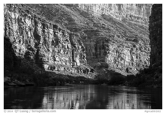 Cliffs and reflections in Marble Canyon, early morning. Grand Canyon National Park (black and white)