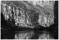 Cliffs and reflections in Marble Canyon, early morning. Grand Canyon National Park ( black and white)