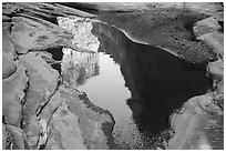 Cliffs reflected in pool, North Canyon. Grand Canyon National Park ( black and white)