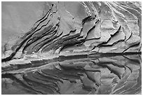 Sandstone rock layers and reflections, North Canyon. Grand Canyon National Park ( black and white)