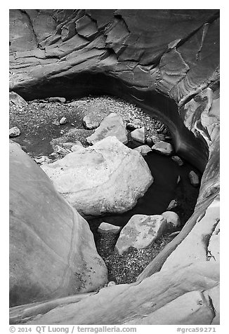 Pool and rocks, North Canyon. Grand Canyon National Park (black and white)