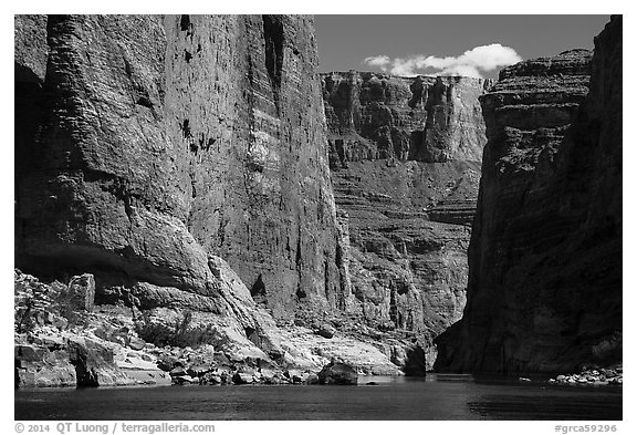 Huge Redwall limestone canyon walls in Marble Canyon. Grand Canyon National Park (black and white)