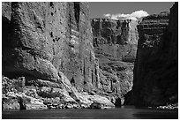 Huge Redwall limestone canyon walls in Marble Canyon. Grand Canyon National Park ( black and white)