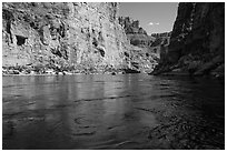 Colorado River flowing between steep cliffs in Marble Canyon. Grand Canyon National Park ( black and white)