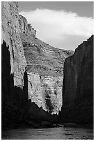 Canyon walls and shadows in late afternoon, Marble Canyon. Grand Canyon National Park ( black and white)