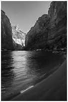 Beach and Redwall canyon walls, Marble Canyon. Grand Canyon National Park ( black and white)