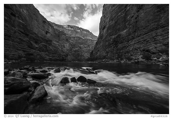 Rapids and boulders in Marble Canyon. Grand Canyon National Park (black and white)