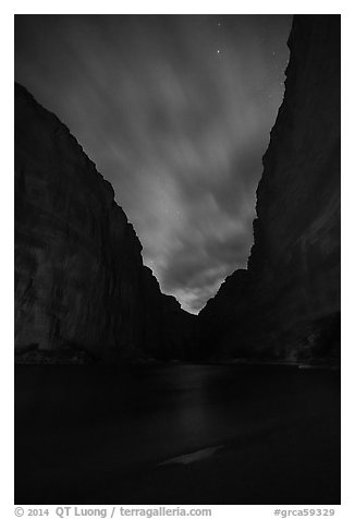 Marble Canyon at night. Grand Canyon National Park (black and white)
