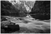 Rapids and reflections, early morning, Marble Canyon. Grand Canyon National Park ( black and white)