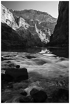 Rapids, reflections, and cliffs, early morning, Marble Canyon. Grand Canyon National Park ( black and white)