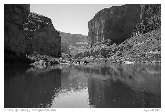 Canyon walls, Colorado River, vegetation, and reflections. Grand Canyon National Park (black and white)
