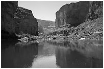 Canyon walls, Colorado River, vegetation, and reflections. Grand Canyon National Park ( black and white)