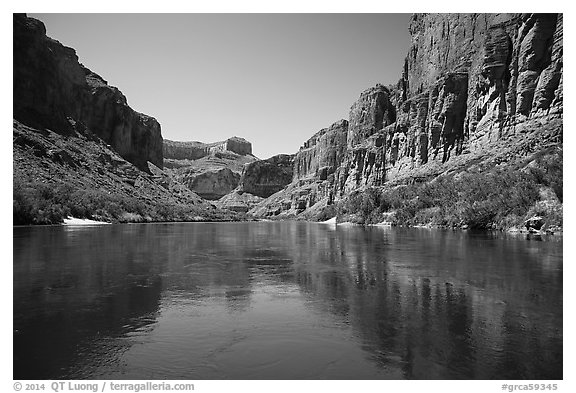 Cliffs and reflections, Marble Canyon. Grand Canyon National Park (black and white)