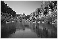 Cliffs and reflections, Marble Canyon. Grand Canyon National Park ( black and white)