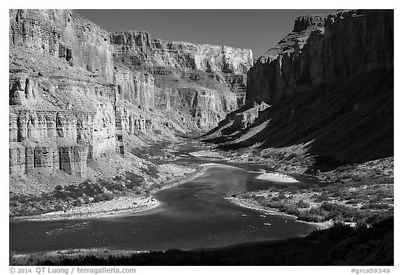 Colorado River at Nankoweap, afternoon. Grand Canyon National Park (black and white)