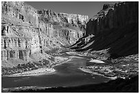 Colorado River at Nankoweap, afternoon. Grand Canyon National Park ( black and white)