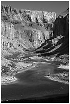 Distant rafts on the Colorado River. Grand Canyon National Park ( black and white)