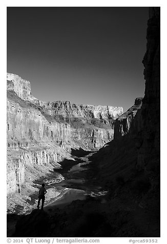 Hiker silhouette, Nankoweap. Grand Canyon National Park (black and white)