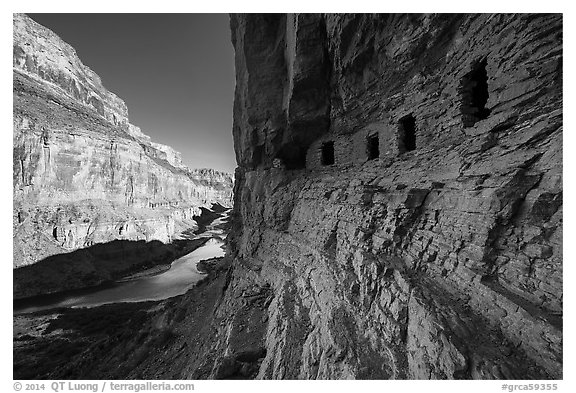 Ancient Nankoweap granaries and Colorado River,. Grand Canyon National Park (black and white)