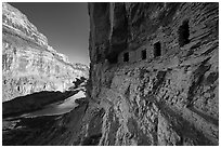 Ancient Nankoweap granaries and Colorado River,. Grand Canyon National Park ( black and white)