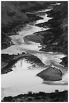 Reflections on the meanders of the Colorado River, Nankoweap. Grand Canyon National Park ( black and white)