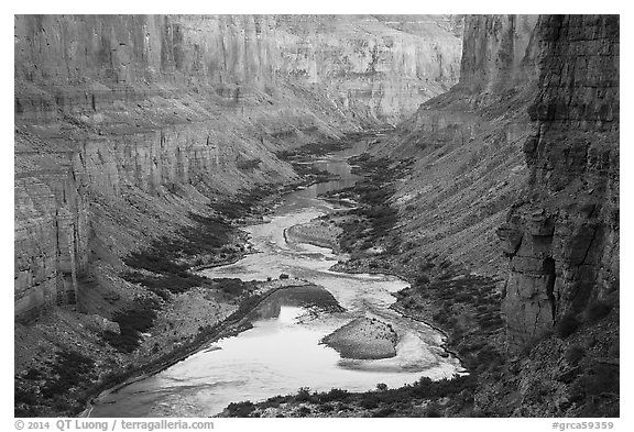 Colorado River at Nankoweap, dusk. Grand Canyon National Park (black and white)