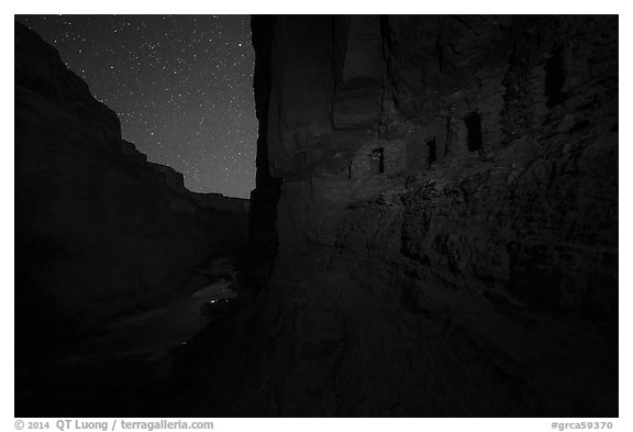 Ancient Nankoweap granaries above the Colorado River at night. Grand Canyon National Park (black and white)