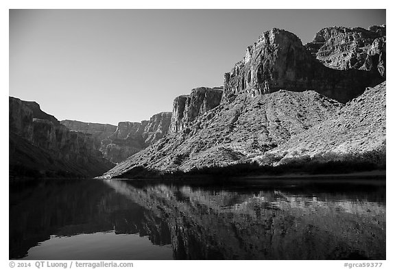 Buttes and glassy reflections in Colorado River. Grand Canyon National Park (black and white)