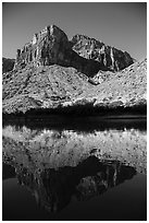 Buttes and reflections in Colorado River. Grand Canyon National Park ( black and white)