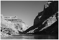 Cliffs, shadows, blue water and sky, Marble Canyon. Grand Canyon National Park ( black and white)