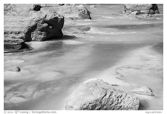 Little Colorado River with turquoise waters caused by alkalinity, and dissolved calcium carbonate. Grand Canyon National Park (black and white)