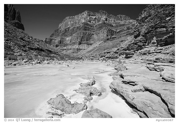 Little Colorodo River flows turquoise on its way to Colorado River below Chuar Butte. Grand Canyon National Park (black and white)