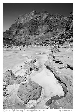 Little Colorodo River with turqouise waters in the spring below Chuar Butte. Grand Canyon National Park (black and white)